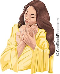 Vector of mother embracing baby.