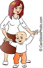 Vector of mother helping her baby boy to walk.