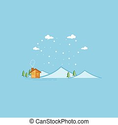 Vector of mountain and house landscape