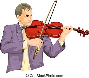 Vector of musician playing violin.