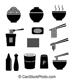 vector of noodle icon set