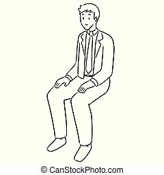 vector of office worker sitting