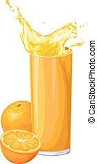 Vector of orange fruit with juice in glass.