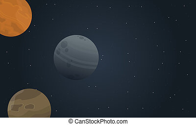 Vector of outer space landscape