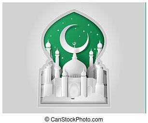 Vector of paper Mosque.