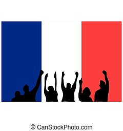 Vector of people with french flag background. Demonstration action concept for France