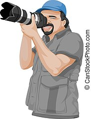 Vector of photographer taking picture with slr camera.