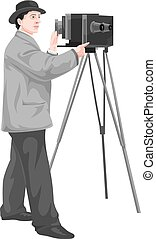 Vector of photographer with camera.