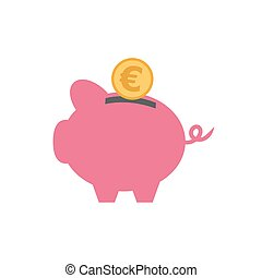 vector of piggy with currency
