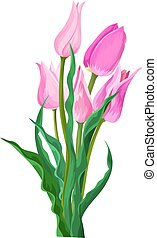 Vector of pink flower with leaves.