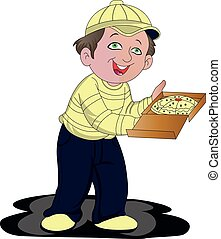 Vector of pizza delivery boy.
