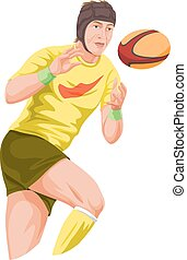 Vector of player catching football.