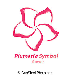 Plumeria (frangipani) flower symbol - Vector of Plumeria...
