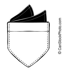 A black and white vector illustration of a patch pocket with a hand-sewn pocket square inside