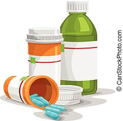 Vector illustration of prescription pill and syrup bottles.