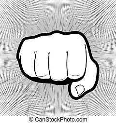 Vector of punching hand with a clenched fist aimed directly at the viewer  isolated on grey