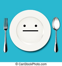 Vector of quiet face draw on plate