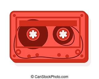 Vector of red cassette with blank label