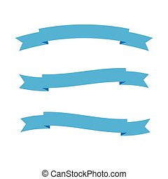 Vector of ribbon or empty blue label isolated on white background.