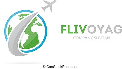 Vector of rocket and earth logo combination. Airplane and world symbol or icon. Unique global and ecology logotype design template.