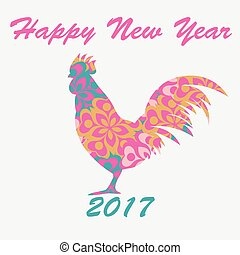Vector of rooster decorated floral pattern