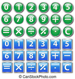 Vector of round and square calculator buttons