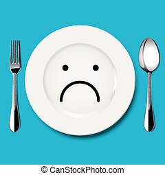 Vector of sad face draw on plate