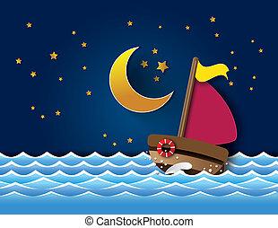 Vector of sailboat at night.