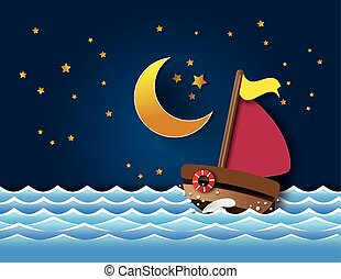 Vector of sailboat at night. paper cut style.