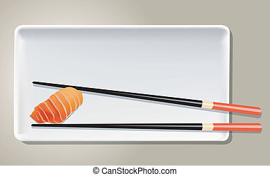 Salmon Sushi on white plate