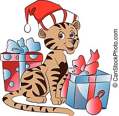 Vector of Santa cat with Christmas gifts.