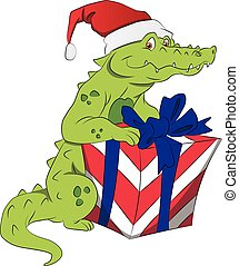 Vector of santa crocodile with giftbox.