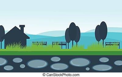 Vector of scenery house and mountain backgrounds