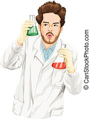 Vector illustration of a scientist experimenting with liquid in flasks.