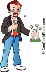 Vector of scientist with testtube and beaker. - Vector...