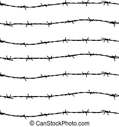 vector of seven barbed wires on white background