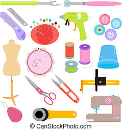 Sewing Tools and Handicraft - Vector of Sewing Tools and...