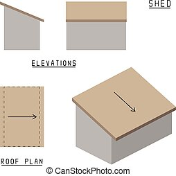 Vector of Shed roof. Elevations, roof plan and 3d view.