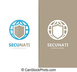 Vector of shield and planet logo combination. Security and world symbol or icon. Unique protect and globe logotype design template.