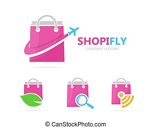 Vector of shop and plane logo combination. Sale and travel symbol or icon. Unique bag and flight logotype design template.
