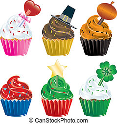 Holiday Cupcakes - Vector of six different Holiday Cupcakes....