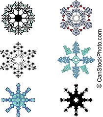 Vector of six different snowflakes set. Winter christmas concept. New Year theme