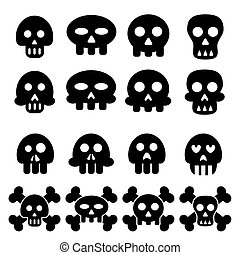 vector of skull icon set