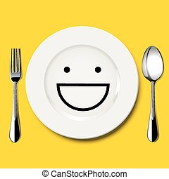 Vector of smile face draw on plate