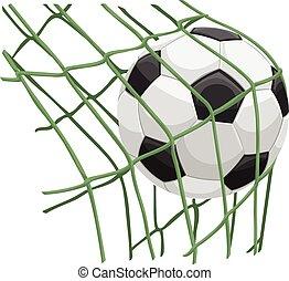 Vector illustration of soccer ball hitting on net.