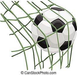Vector of soccer ball on net.
