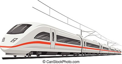 Vector illustration of bullet train with cable.