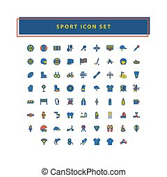 vector of sport icon set with filled outline style design