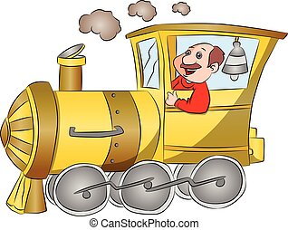 Vector of steam engine with driver.