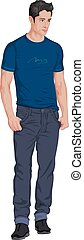 Vector of stylish young man.